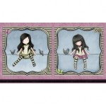 "Panel 2 muñecas Gorjuss sobre cuerda ""On top of the world"""