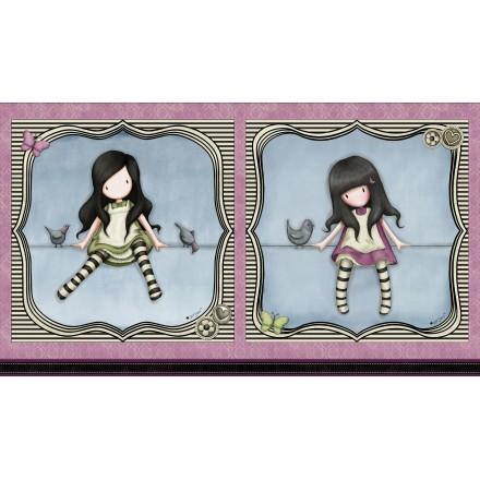 Panel 2 muñecas Gorjuss sobre cuerda