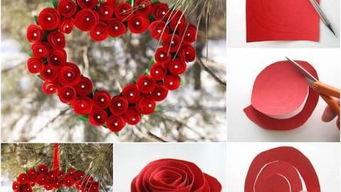 corazon flores de papel
