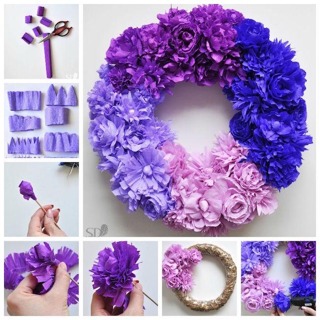 C mo hacer una corona de flores de papel blog material - Como se hacen flores de papel ...