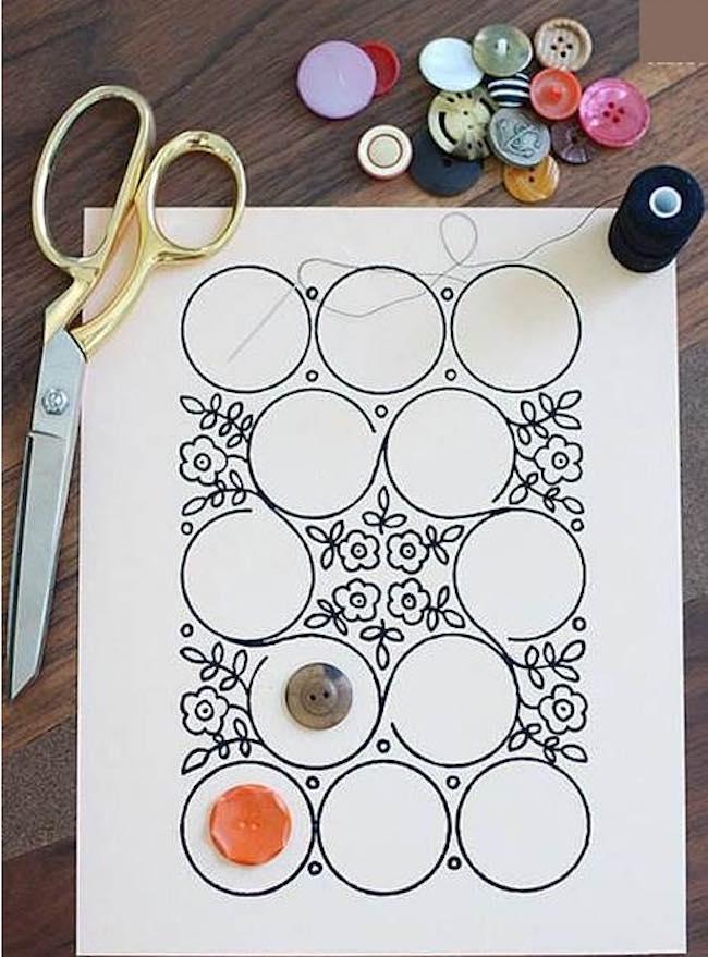 arte con botones boceto