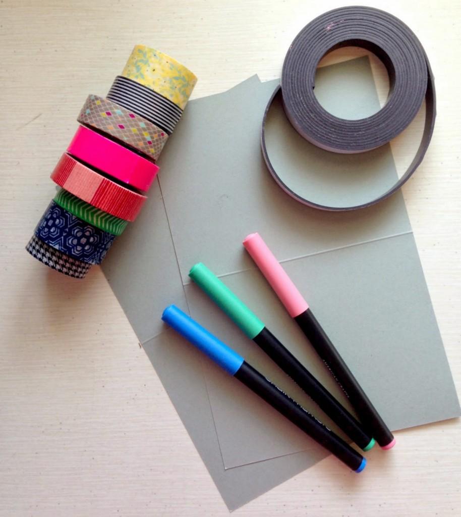 Materiales para forrar imanes con Washi Tape