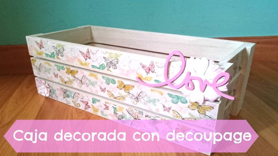 Caja de manzanas decorada con papeles decoupage