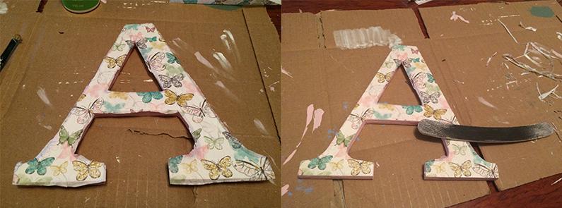 Forrar letras con papel decoupage de mariposas