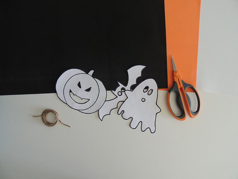 Materiales para hacer una guirnalda de Halloween de goma Eva