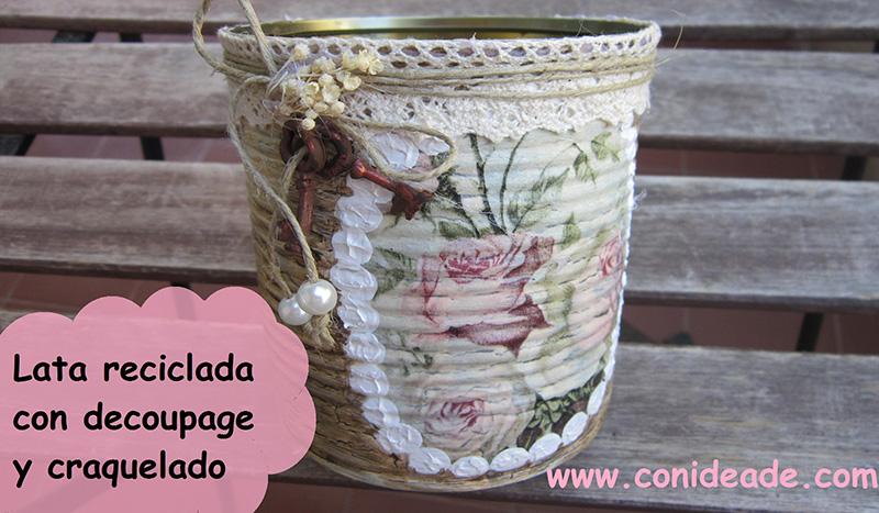 reciclar una lata con decoupage