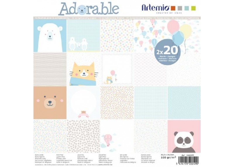 Pack de papeles scrapbook colección adorable