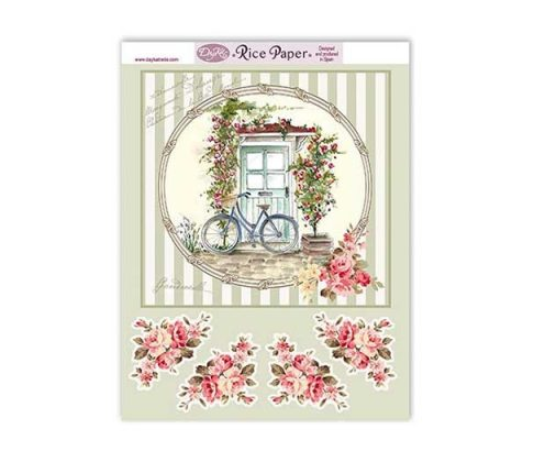 Papel de arroz Dayka Trade bicicleta y puerta