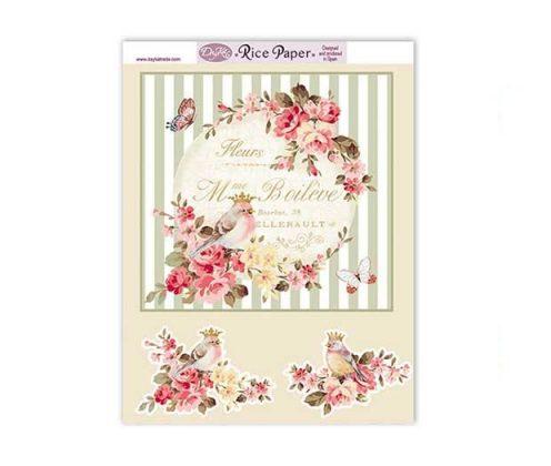 Papel decorativo para pegar, papel de arroz flores y pájaros