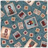Tela Gorjuss My Story con estampado de marcos de muñecas fondo azul