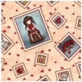 Tela Gorjuss My Story con estampado de marcos de muñecas fondo beige